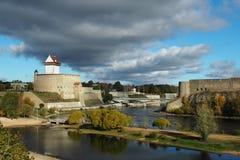 Φρούριο σε Narva και Ivangorod Στοκ Εικόνες