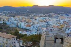 Φρούριο Ibiza και παλαιά πόλη στο ηλιοβασίλεμα, Ibiza, Eivissa νησί, Βαλεαρίδες Νήσοι, Ισπανία στοκ εικόνες