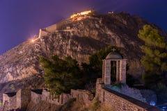 Φρούριο Palamidi Nafplio τη νύχτα στοκ φωτογραφίες
