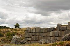 Φρούριο Saksaywaman Inca με το άγαλμα του Ιησού, Cusco Στοκ Εικόνα