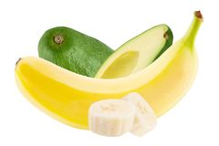 Φρούτα αβοκάντο και μπανανών που απομονώνονται στο άσπρο υπόβαθρο στοκ εικόνες