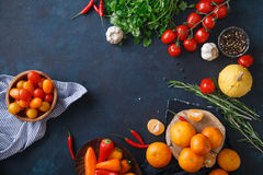 Φρούτα, λαχανικά και χορτάρια στο μπλε υπόβαθρο Στοκ Εικόνες