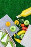 Φρούτα για το πικ-νίκ Apple, μπανάνα, tangerine στο τραπεζομάντιλο στην πράσινη τοπ άποψη υποβάθρου χλόης copyspace Στοκ Εικόνες