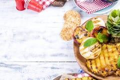 Φρούτα, διάφορα ψημένα στη σχάρα πρόχειρα φαγητά, για ένα θερινό μεσημεριανό γεύμα τρόφιμα υγιή Ορεκτικά σε ένα άσπρο υπόβαθρο δι Στοκ Φωτογραφίες