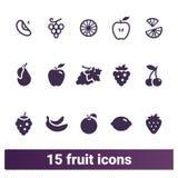 Φρούτα και απλά επίπεδα εικονίδια μούρων Στοκ εικόνες με δικαίωμα ελεύθερης χρήσης