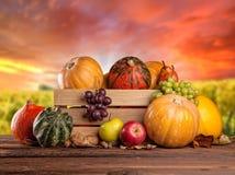 Φρούτα και λαχανικά πτώσης στο ξύλο thanksgiving Στοκ Εικόνες