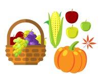 Φρούτα και λαχανικά στην ψάθινη διανυσματική απεικόνιση καλαθιών Στοκ Φωτογραφίες