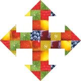 Φρούτα και λαχανικά χρώματος τρόφιμα φρέσκα Έννοια κολάζ Στοκ εικόνες με δικαίωμα ελεύθερης χρήσης