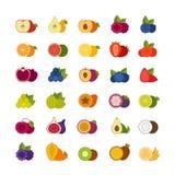 Φρούτα και εικονίδια μούρων καθορισμένα Επίπεδο ύφος, διανυσματική απεικόνιση Στοκ Φωτογραφίες