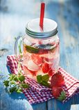Φρούτα και εμποτισμένη μούρο διάτρηση σε ένα βάζο γυαλιού στοκ εικόνες