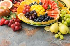 Φρούτα και λαχανικά ουράνιων τόξων, τοπ άποψη Στοκ Εικόνες