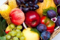 Φρούτα και λαχανικά όπως τα κόκκινο πιπέρια κουδουνιών, το καλαμπόκι, τη Apple, τα δαμάσκηνα, τις κολοκύθες, τα αχλάδια και τα στ Στοκ Φωτογραφία
