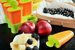 Φρούτα και μούρα για την κατασκευή του σπιτικού παγωτού στο επιτραπέζιο CL Στοκ Φωτογραφία