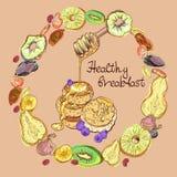 Φρούτα και τηγανίτες σε στρογγυλό διανυσματική απεικόνιση