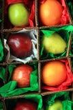 Φρούτα μέσα στα τετραγωνικά κιβώτια στο έγγραφο ιστού Στοκ Φωτογραφία