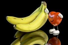 Φρούτα μπανανών και ευτυχής καρδιά Στοκ Εικόνες