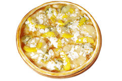 Φρούτα πιτσών με το ροδάκινο, ακτινίδιο, ανανάδες, μαρμελάδα μήλων. Στοκ Εικόνες