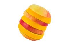 Φρούτα που απομονώνονται Apple-πορτοκαλιά στο λευκό Στοκ Εικόνες