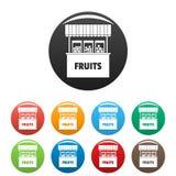Φρούτα που πωλούν τα εικονίδια καθορισμένα το διάνυσμα χρώματος Στοκ Φωτογραφία