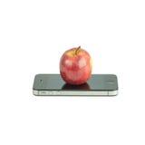 Φρούτα της Apple και έξυπνο τηλέφωνο που απομονώνονται στο λευκό Στοκ φωτογραφία με δικαίωμα ελεύθερης χρήσης