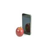 Φρούτα της Apple και έξυπνο τηλέφωνο που απομονώνονται Στοκ εικόνα με δικαίωμα ελεύθερης χρήσης