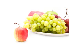 Φρούτα της Apple και πράσινο σταφύλι Στοκ Εικόνες