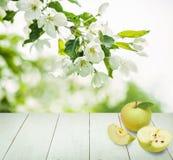 Φρούτα της Apple, ξύλινο υπόβαθρο, πράσινα φύλλα Στοκ Εικόνα