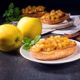 Φρούτα της Apple που διαδίδονται με τα κομμάτια κανέλας και φρούτων Στοκ φωτογραφία με δικαίωμα ελεύθερης χρήσης