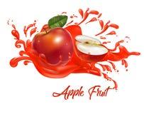 Φρούτα της Apple στον παφλασμό χυμού Στοκ φωτογραφίες με δικαίωμα ελεύθερης χρήσης
