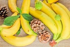 Φρούτα φθινοπώρου, κώνος μπανανών και κάστανα με τα φύλλα στην ξύλινη ΤΣΕ Στοκ εικόνες με δικαίωμα ελεύθερης χρήσης