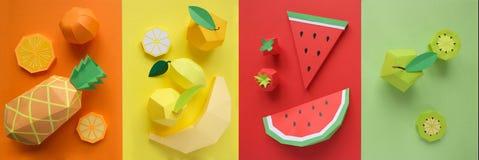 Φρούτα φιαγμένα από έγγραφο Φωτεινό υπόβαθρο Υπάρχει χώρος για το γράψιμο στοκ φωτογραφία με δικαίωμα ελεύθερης χρήσης