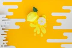 Φρούτα φιαγμένα από έγγραφο r Υπάρχει χώρος για το γράψιμο tropics r Λεμόνι στοκ φωτογραφία με δικαίωμα ελεύθερης χρήσης
