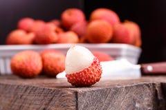 Φρούτα Lychee, τα οποία καλούνται κινεζικό δαμάσκηνο Στοκ Εικόνα