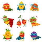 Φρούτα Superheroes στο διαφορετικό σύνολο κοστουμιών ζωηρόχρωμων διανυσματικών απεικονίσεων Στοκ εικόνα με δικαίωμα ελεύθερης χρήσης