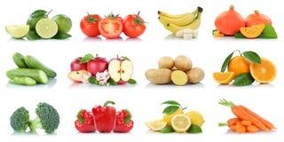 Φρούτων λαχανικών απομονωμένοι συλλογή μήλων μήλων νωποί καρποί χρωμάτων μπανανών ντοματών πορτοκαλιοί στοκ εικόνα με δικαίωμα ελεύθερης χρήσης
