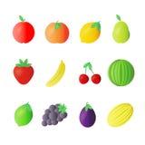 Φρούτων πλήρης απεικόνιση εικονιδίων σχεδίου χρώματος επίπεδη Στοκ εικόνα με δικαίωμα ελεύθερης χρήσης