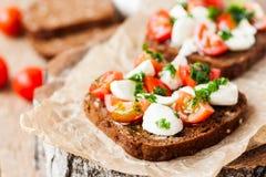 Φρυγανιά με την ντομάτα και τη μοτσαρέλα Στοκ εικόνες με δικαίωμα ελεύθερης χρήσης