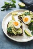 Φρυγανιά με το αβοκάντο και το αυγό στοκ εικόνες
