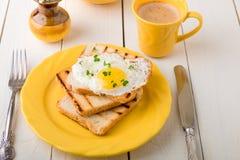Φρυγανιά με το αυγό στο κίτρινο πιάτο κοντά στο βάζο με το λουλούδι στο άσπρο ξύλινο υπόβαθρο πρόγευμα υγιές Στοκ Εικόνες