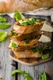 Φρυγανιά χορταριών σκόρδου με τη φρέσκια μοτσαρέλα στοκ φωτογραφίες με δικαίωμα ελεύθερης χρήσης