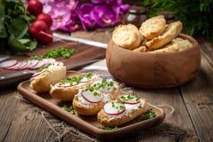 Φρυγανιές με το ραδίκι, τα φρέσκα κρεμμύδια και το τυρί εξοχικών σπιτιών Στοκ Εικόνα