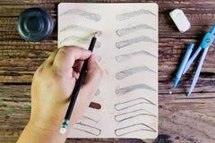 Φρύδια σχεδίων με το μολύβι Στοκ Εικόνες