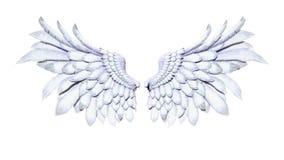 Φτερά αγγέλου, άσπρο φτέρωμα φτερών στο άσπρο υπόβαθρο Στοκ Εικόνες