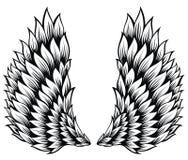 Φτερά αγγέλου που απομονώνονται στο άσπρο υπόβαθρο απεικόνιση αποθεμάτων