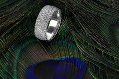 Φτερά γαμήλιων δαχτυλιδιών διαμαντιών peacock Στοκ εικόνα με δικαίωμα ελεύθερης χρήσης