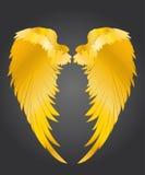 φτερά Διανυσματική απεικόνιση στο σκοτεινό υπόβαθρο χρυσό μέταλλο Στοκ εικόνα με δικαίωμα ελεύθερης χρήσης