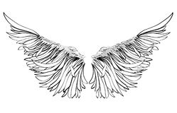 φτερά διανυσματικό λευκό καρ&chi μαύρο λευκό Στοκ εικόνες με δικαίωμα ελεύθερης χρήσης