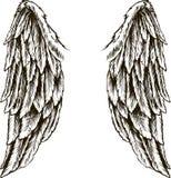 φτερά λευκό απεικόνισης δακτυλικών αποτυπωμάτων ανασκόπησης μαύρο λευκό Στοκ εικόνα με δικαίωμα ελεύθερης χρήσης