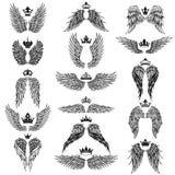 Φτερά με τις διανυσματικές σκιαγραφίες κορωνών ελεύθερη απεικόνιση δικαιώματος
