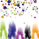 Φτερά με τους ζωηρόχρωμους παφλασμούς χρωμάτων Στοκ Εικόνα
